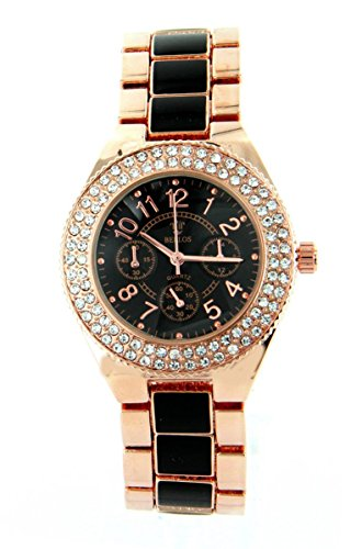Zeigt Damen Stahl rose Diamanten CZ Michael John 1673