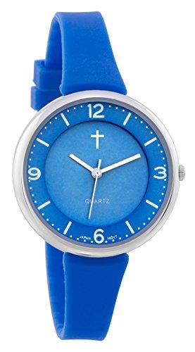 Belief Sporty Blue Face blau Silicon Band mit Kreuz Logo bf9659lb