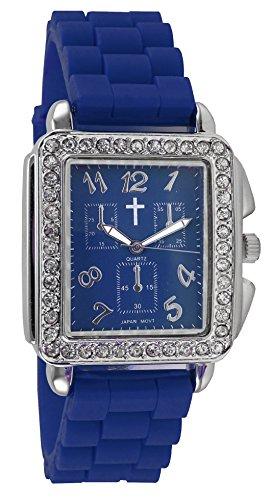 Belief Damen Haarreif Fall Blue Face blau Silikon Band Uhr mit Cross Logo bf9612bl
