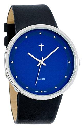 Belief Damen Funky minimalistisch gross BLUE FACE schwarz Band Uhr mit Cross Logo bf9658bk