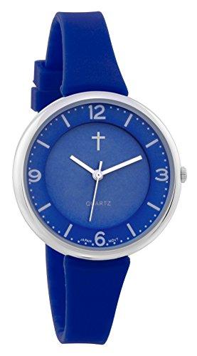 Belief Damen Sportliche Royal Blue Face Royal Blau Silikon Band Uhr mit Kreuz logo bf9659bk