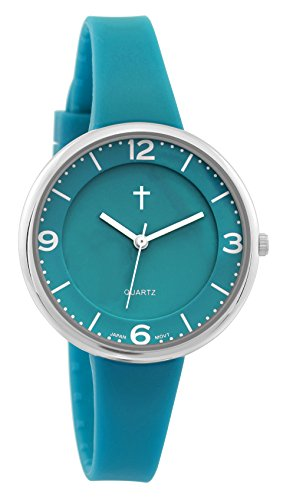 Belief Damen Sportliche gruen Face gruen Silikon Band Uhr mit Cross Logo bf9659tl