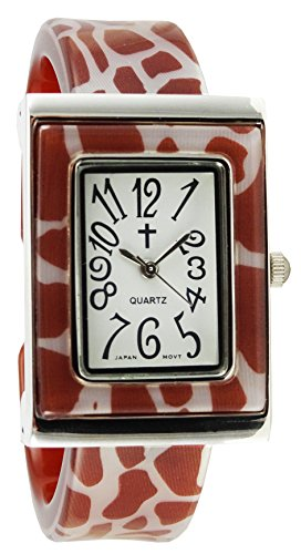 Belief Damen Giraffe Muster rechteckig Face Kunststoff Armreif Uhr mit Kreuz logo bf963702