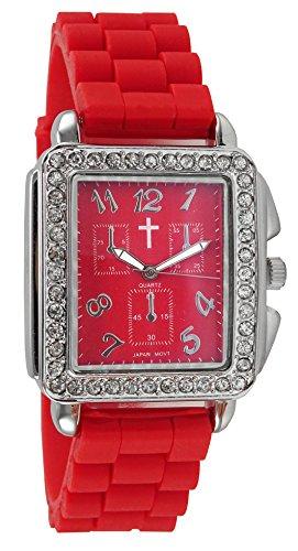 Belief Damen Haarreif Fall Rot Gesicht rot Silikon Band Uhr mit Cross Logo bf9612rd