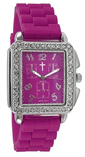 Belief Damen Haarreif Fall Magenta Violett Face Purple Silikon Band Uhr mit Cross Logo bf9612pr