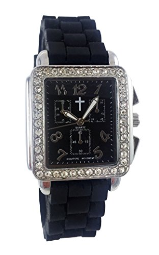 Belief Damen Haarreif schwarz Face schwarz Silikon Band Uhr mit Cross Logo bf9612bk