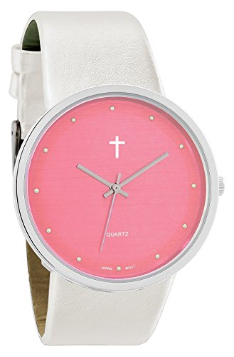 Belief Damen Funky minimalistisch gross Baby Pink Gesicht Pearly Weiss Band Uhr mit Cross Logo bf9658wt