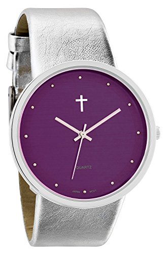 Belief Damen Funky minimalistisch gross lila FACE Metallic Silber Band Armbanduhr mit Kreuz Logo bf9658pr