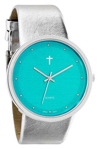 Belief Damen Funky minimalistisch gross gruen Face Metallic Silber Band Armbanduhr mit Kreuz Logo bf9658tl