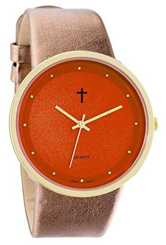 Belief Damen Funky minimalistisch gross orange Face Metallic Gold Band mit Kreuz Logo bf9658or