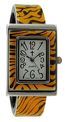 Belief Damen Tiger Muster rechteckig Face Kunststoff Armreif Uhr mit Kreuz logo bf963701