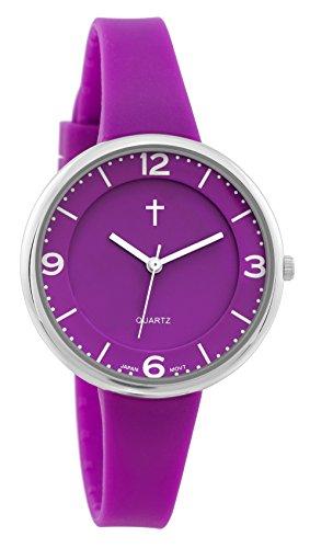Belief Damen Sportliche violett Face Purple Silikon Band Uhr mit Cross Logo bf9659pr