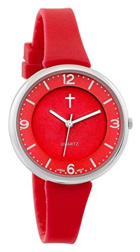 Belief Damen sportliches rot Gesicht rot Silikon Band Uhr mit Cross Logo bf9659rd
