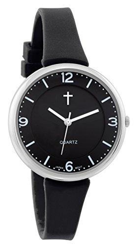 Belief Damen Sporty schwarz Face schwarz Silikon Band Uhr mit Kreuz logo bf9659bk