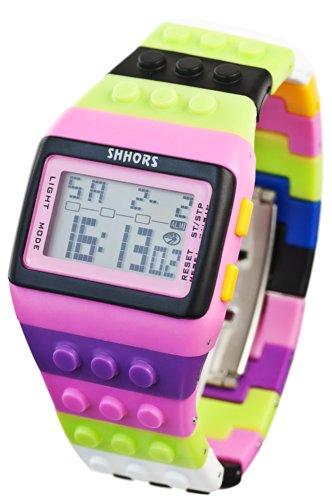 Baustein Digital Uhr Multicolor Schwarz Pink
