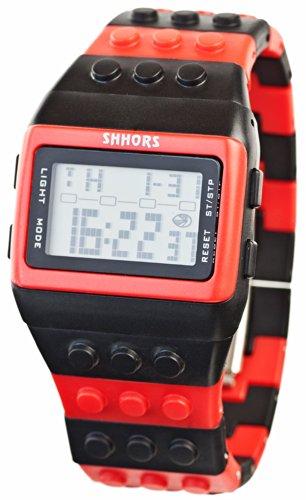 Baustein Digital Uhr Black Red