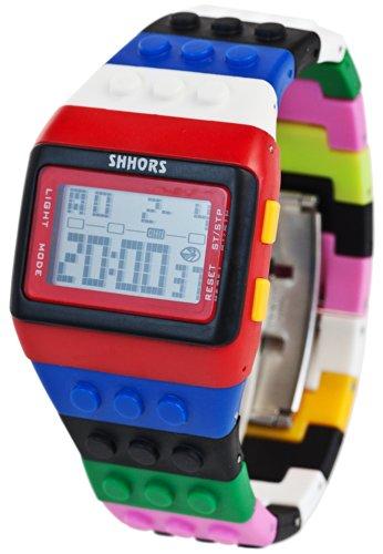 Baustein Digital Uhr Multicolor Schwarz Rot