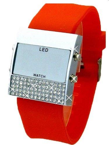 Damen Glamour LED Uhr Rot K162