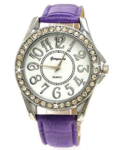 Leder Armband Violet Strass Silber