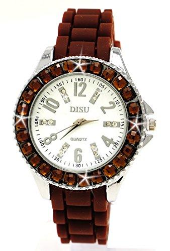 Damenuhr Armbanduhr Braun Strass Steine