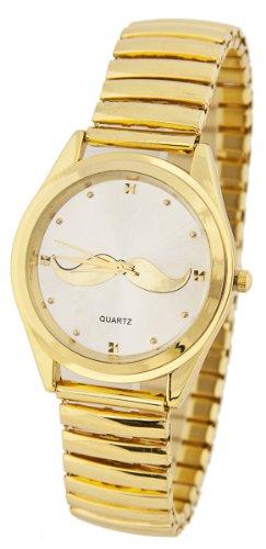 Edle Armbanduhr Bart Schnurrbart Goldfarben