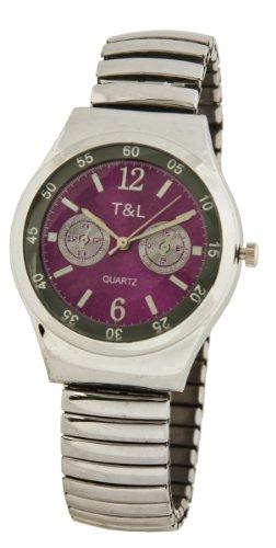 Edle Damen Flex Armband Uhr silber pink