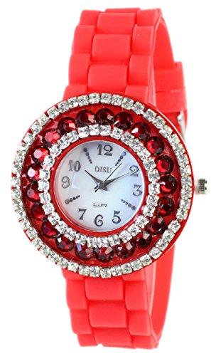 Elegante Rote Damenarmbanduhr Strassstein Verzierungen