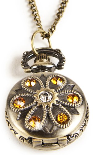 Glitzernde Umhaengeuhr Halskette mit Sprungdeckel
