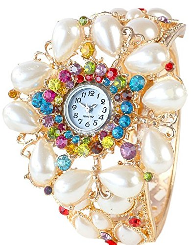 Handgefertigte Spangenuhr Gold Strass Perlen
