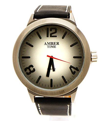 Klassische XXL Leder Armbanduhr Schwarz Rund