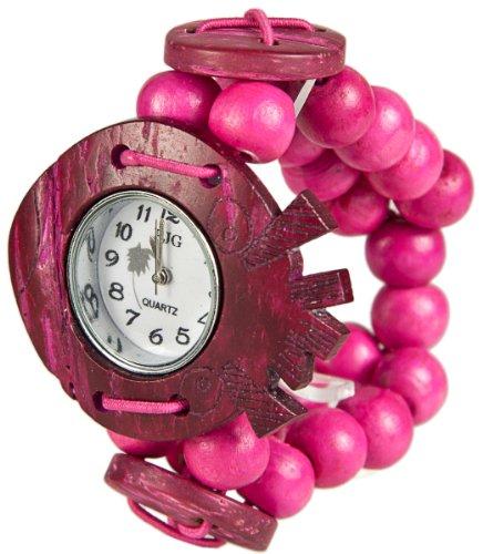 MAMBO Nature Holz Perlen Armband Uhr Pink