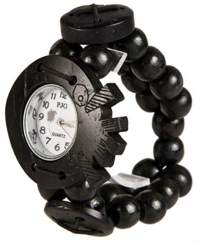 MAMBO Nature Holz Perlen Armband Uhr Schwarz
