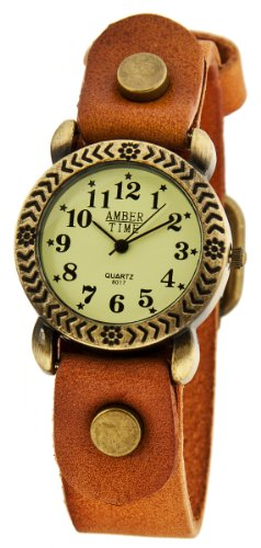 MAMBO Vintage Damenuhr Hellbraun Leder