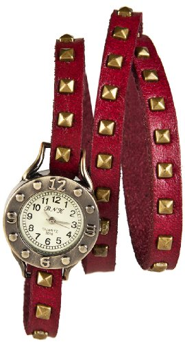 Mambo Wickel Armband Uhr Leder Bordeaux Rot mit Nieten