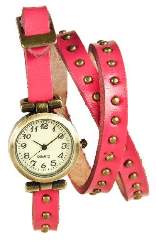 Mambo Wickel Armband Uhr Leder Fuchsia mit Nieten