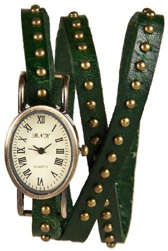 Mambo Wickel Armband Uhr Leder Gruen mit Nieten oval