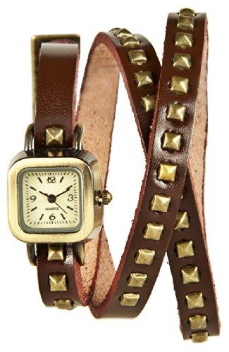 Mambo Wickel Armband Uhr Leder Braun mit Nieten eckig