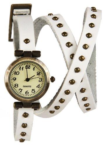 Mambo Wickel Armband Uhr Leder Weiss mit Nieten