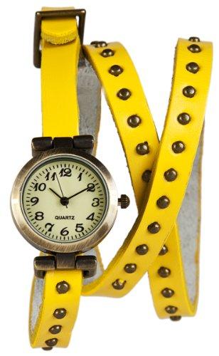 Mambo Wickel Armband Uhr Leder Gelb mit Nieten