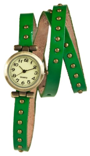 Mambo Wickel Armband Uhr Leder Gruen mit Nieten