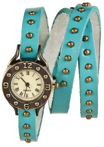 Mambo Wickel Armband Uhr Leder Blau mit Nieten