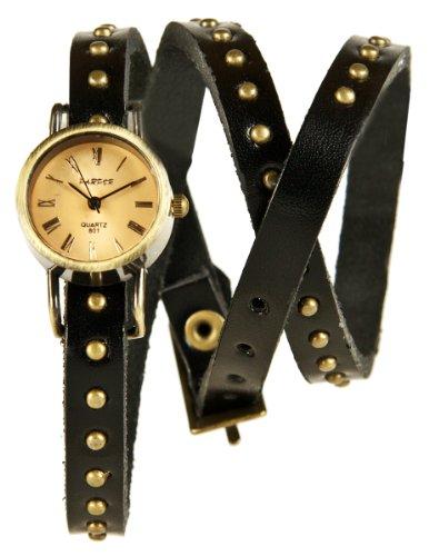 Mambo Wickel Armband Uhr Leder Schwarz mit Nieten