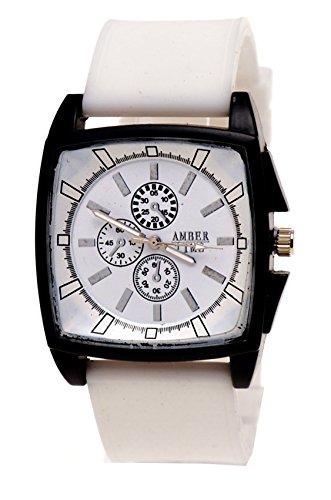 Moderne Armbanduhr Weiss edles schwarzes Gehaeuse