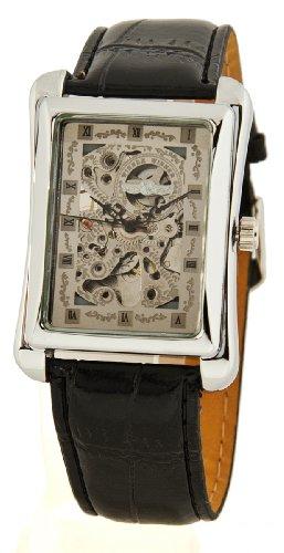 Modische Skelett Automatik Uhr eckig silber
