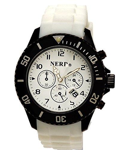 Originale Nerd Armbanduhr in Weiss Schwarz