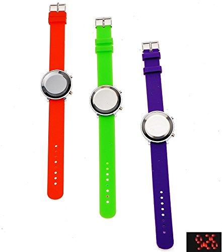 Runde Armbanduhren mit digitaler Anzeige gruen und hellblau
