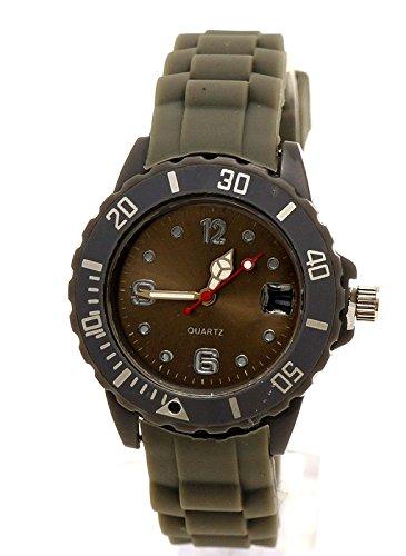 Schmale Armbanduhr Grau Sport Datumsanzeige