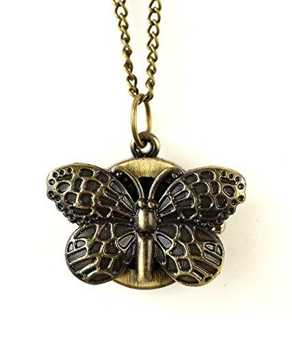 Schmetterling Umhaengeuhr Halskette mit Sprungdeckel