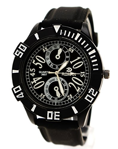 Sportliche Armbanduhr herausstechende Zahlen Chrono Schwarz Schwarz