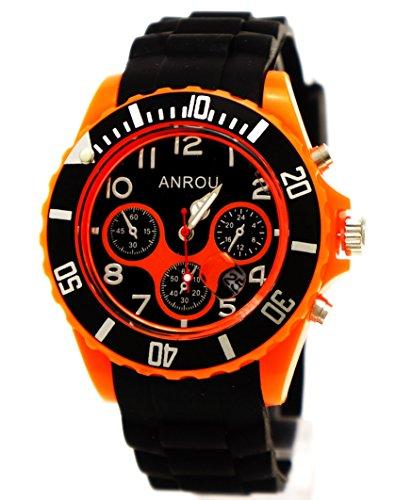 Sportliche Armbanduhr orange schwarz Anrou